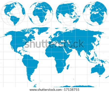 world map outline vector. Detailed Vector World Outline