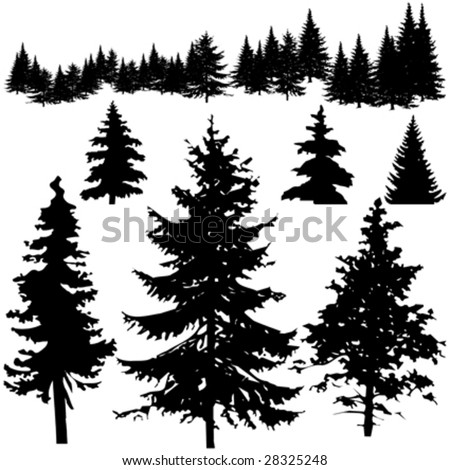 pine tree silhouette clip art. pine tree silhouettes.