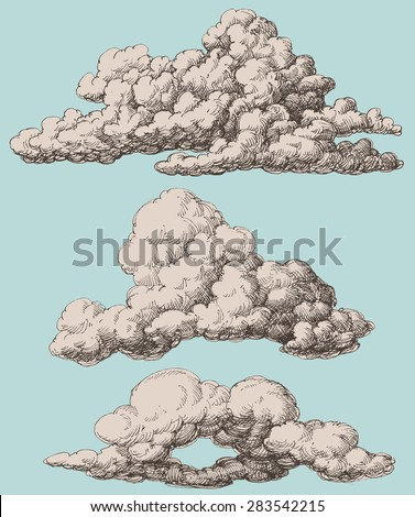 detailed vintage style clouds...