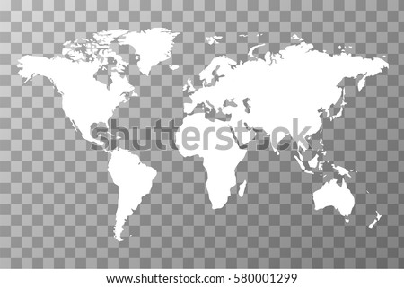 detailed white worldwide map on