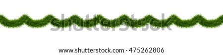 Detailed wide christmas garland. Seamless xmas border with fir branches isolated on white background. Vector decoration for holiday designs.