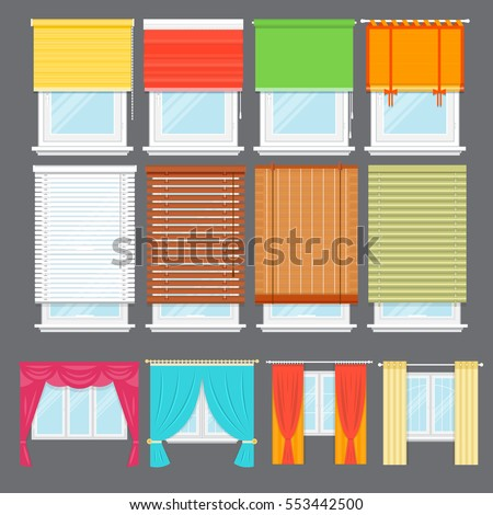 Detailed window set isolated vector illustration. Architectural details, window treatments, interior elements. Cartoon curtains, jalousie, drapery, blinds collection in flat style. Window icon set