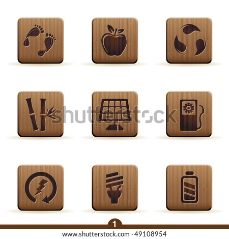 Detailed wooden ecology icons