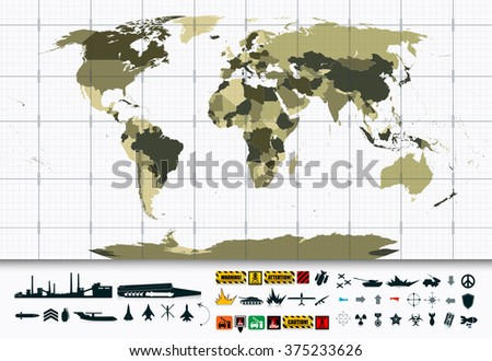 detailed world map and military
