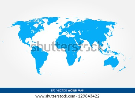 Detailed world map vector - the most finest world map graphic in blue color
