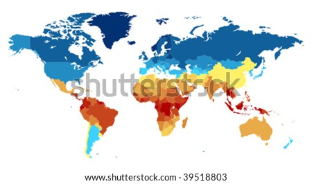 Detailed world map with countries. Colored in various colors: from red on equator to deep blue near poles. Vector illustration.