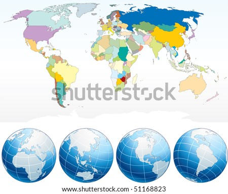 Colorful World Map Vector Download Free Vector Art Stock - Word map with countries