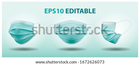 Details 3d with 3 angles medical mask in isolated vector