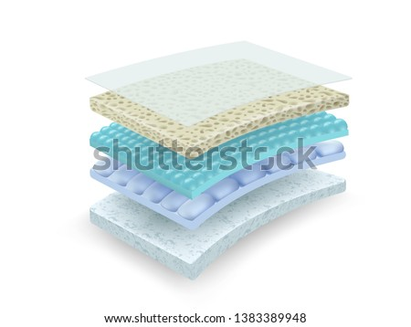 Details of multi-layer materials That is effective in absorbing and ventilating Used in the industry of mattresses, diapers, sanitary napkins, clothing. Vector realistic file.
