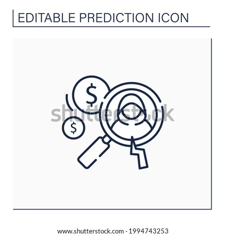 Detecting fraud line icon. Fraudulent schemes. Deception. Criminal acts. Careful research. Predictive analytics concept.Isolated vector illustration.Editable stroke Stock photo ©
