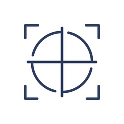 Detection scanner focus thin line icon. Crosshair, focus, frame isolated outline sign. Safety, access, AI technology concept. Vector illustration symbol element for web design and apps