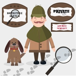 Detective agency vector set