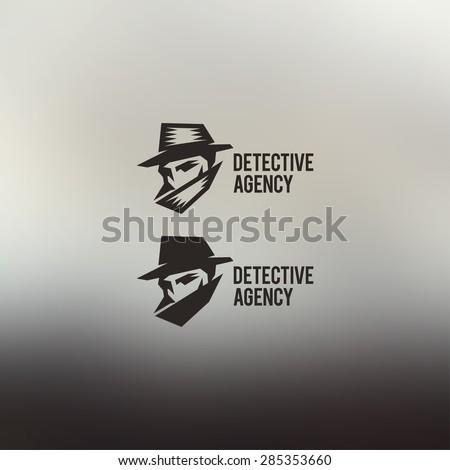 Detective agency vector sign. Vintage label. Private detective logo.