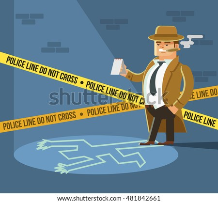 Detective at crime scene. Dead body. Vector flat cartoon illustration