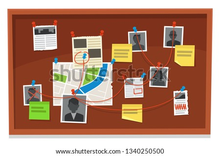 Detective board. Crime evidence connections chart, pinned newspaper and police photos. Investigation evidences, police investigators law evidence board, detectives research scheme vector illustration