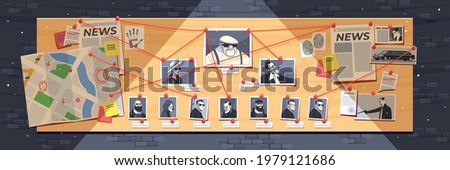 Detective Board with pins and evidence, cops crime detective investigation plan. Board with photos of criminals, newspapers, notes, map structural analysis on dark wall. Cartoon vector illustration.