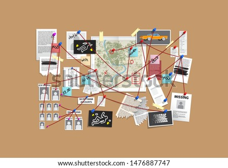 Detective Board with pins and evidence, crime investigation