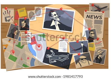 Detective board with pins and evidence, crime investigation fingerprints, photos of suspected criminals, crime scenes, map, and clues connected by red string. Cartoon vector illustration. Foto stock ©