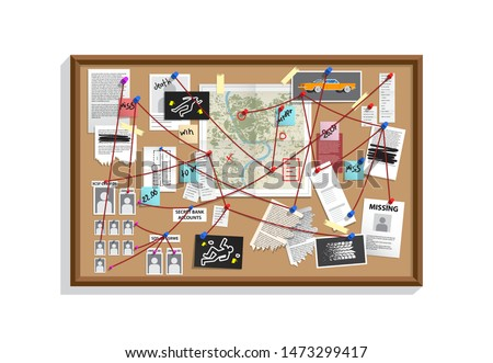 Detective Board with pins and evidence, crime investigation. Investigation board with pinned photos, newspapers and notes. Cops plan for solve the crime. Detective map vector illustration.