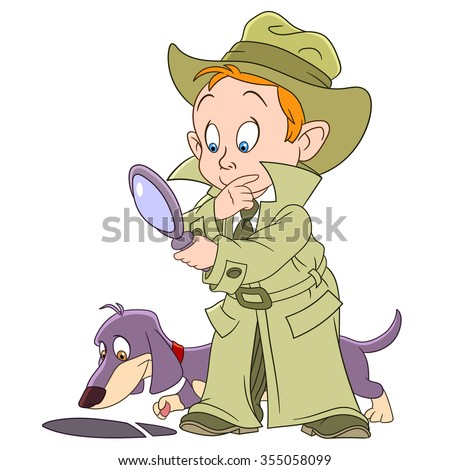 Detective. Boy with dachshund dog. Cartoon character isolated on white background. Colorful design for kids activity book, coloring page, colouring picture. Vector illustration for children.