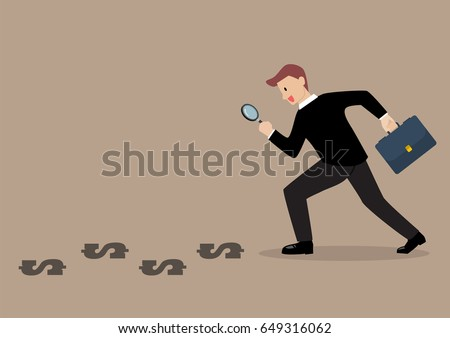 Detective businessman finding money. Business concept