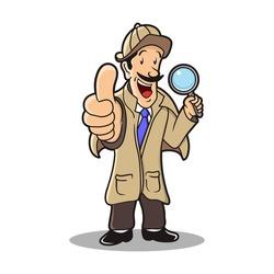 detective cartoon character vector illustration