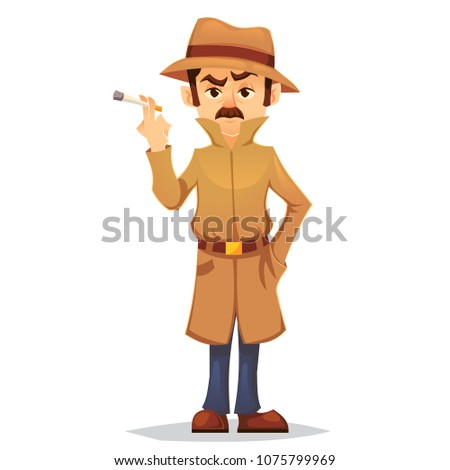 detective character design, cartoon flat style, vector color illustration, noir detective smoking cigarette eps10