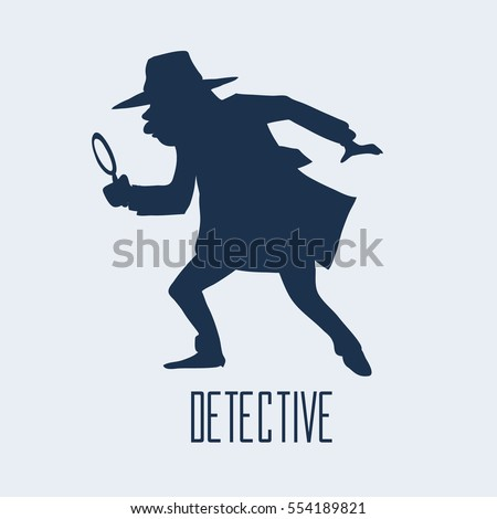 detective character design, cartoon flat style, vector illustration, detective looking through magnifying glass, silhouette