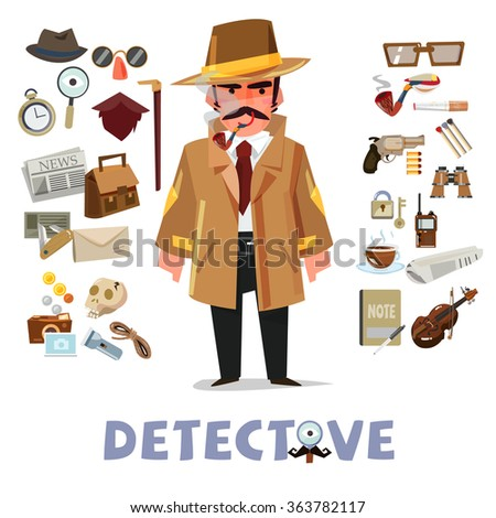 detective character design with equipment. icon set elements. typographic design - vector illustration