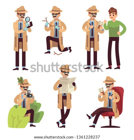 Detective character. Police inspector looking crime photographing case search secret male agent solving spy detect cartoon vector isolated