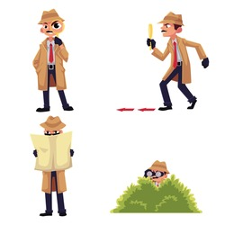 Detective character with magnifying glass, sleuthing, disguising, maintaining surveillance from a bush, cartoon vector illustration isolated on white background. Funny detective character set
