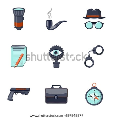 Detective equipment icons set. Cartoon set of 9 detective equipment vector icons for web isolated on white background