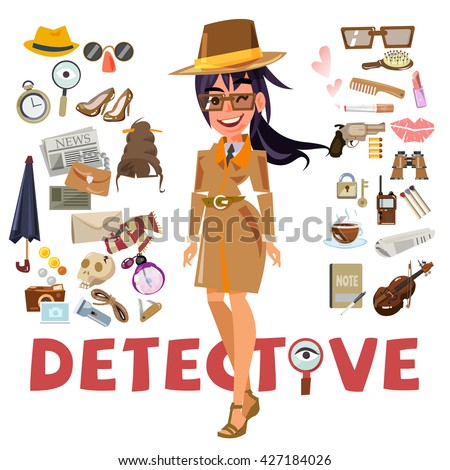 detective female character design with equipment. icon set elements. typographic design - vector illustration