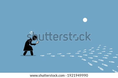 Detective having problem searching for the source of location with scattered footprints. Vector illustration concept of ambiguity, confusion, issue pin pointing direction, elusive, and unclear. Сток-фото ©