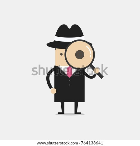 detective holding a magnifying