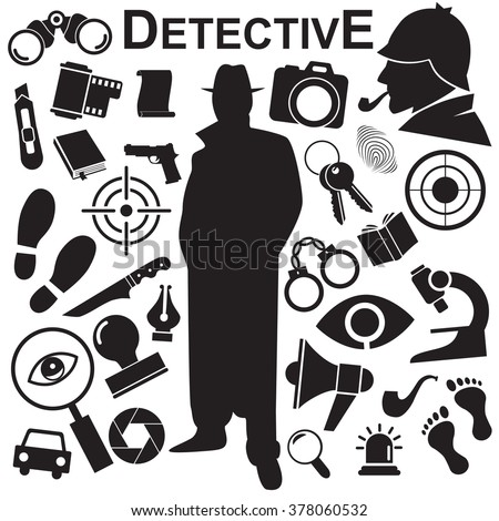 Detective icon isolated on white background. Vector art.