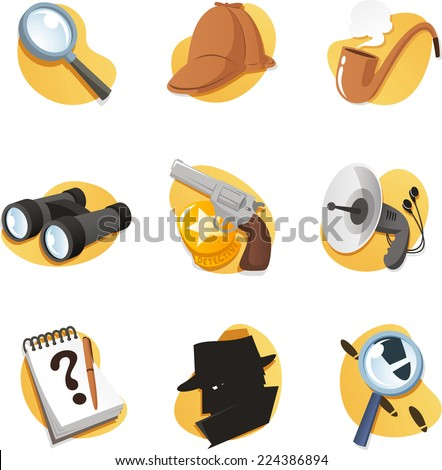 detective icon set elements in