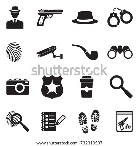 Detective Icons. Black Flat Design. Vector Illustration.