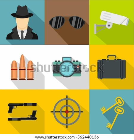 Detective icons set. Flat illustration of 9 detective vector icons for web design. Anonymity and investigator signs
