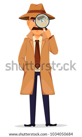 Detective in hat and coat. Handsome cartoon character holding a magnifying glass. Vector illustration isolated on white background.