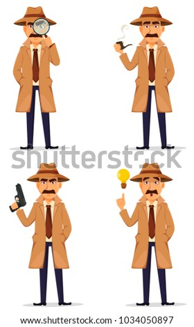 Detective in hat and coat. Set of handsome cartoon character, four poses. Vector illustration isolated on white background.