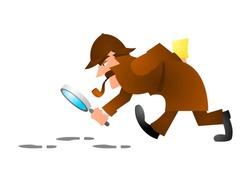 detective in his process cartoon vector illustration