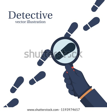 Detective is investigating. Human in gloves holds a magnifying glass. Vector illustration flat design. Isolated on white background. To follow in the footsteps. Investigation concept.