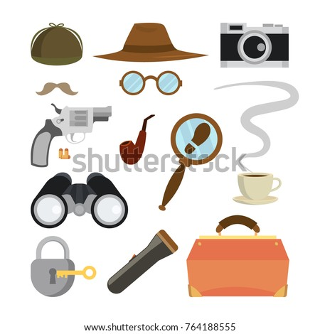 detective items set vector tec