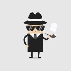 Detective man character smoking pipe. Vector