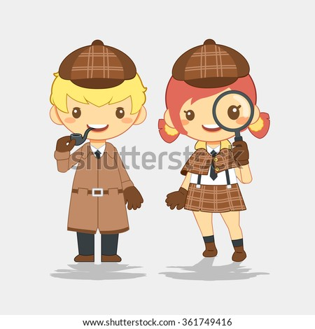 Detective, man with pipe and woman with magnifier