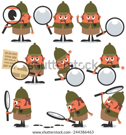 Detective Pack: Set of 9 illustrations of cartoon detective. No transparency and gradients used.