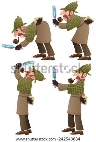 Detective Set: Set of 4 illustrations of cartoon detective. No transparency used. Basic (linear) gradients.