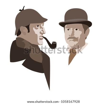 Detective Sherlock Holmes and Dr. Watson. Vector illustration.