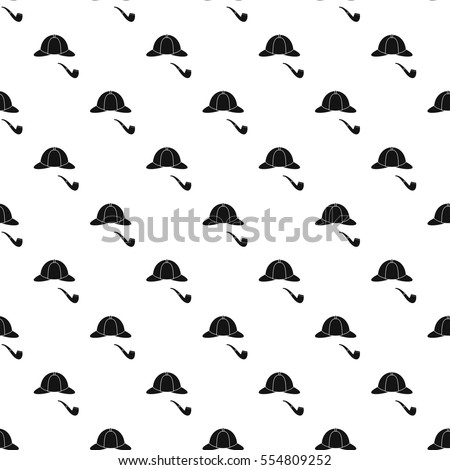 Detective Sherlock Holmes hat and smoking pipe pattern. Simple illustration of detective Sherlock Holmes hat and smoking pipe vector pattern for web